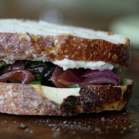Roasted eggplant sandwiches