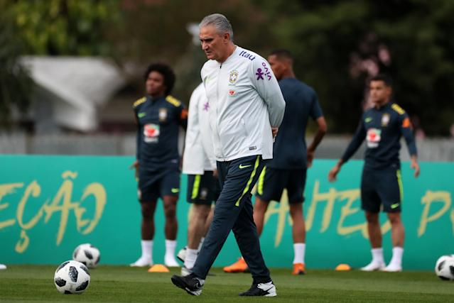 Football Soccer - World Cup 2018 - Brazil national soccer team training - Granja Comary, Teresopolis, Brazil - May 24, 2018 - Coach Tite attends training. REUTERS/Pilar Olivares