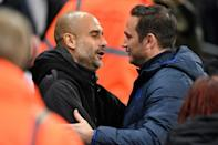 Manchester City manager Pep Guardiola (left) is preparing to pit his wits against Chelsea boss Frank Lampard