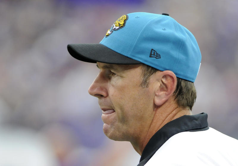 Jacksonville Jaguars head coach Mike Mularkey looks on during the first half of an NFL football game against the Minnesota Vikings, Sunday, Sept. 9, 2012, in Minneapolis. (AP Photo/Jim Mone)
