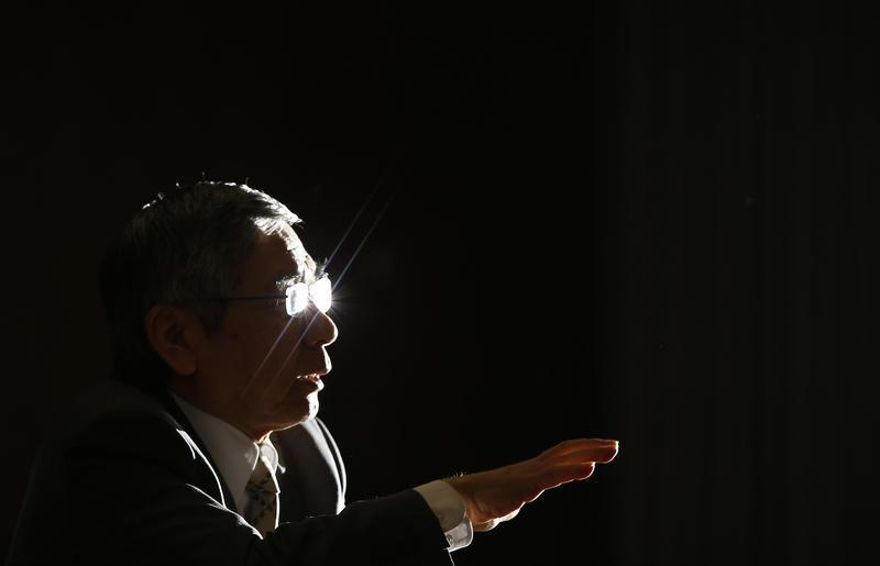 Bank of Japan Governor Kuroda speaks during a group interview at the BOJ headquarters in Tokyo