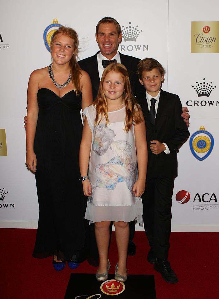 MELBOURNE, AUSTRALIA - FEBRUARY 27:  Summer Warne, Jackson Warne, Shane Warne and Brooke Warne arrive at the 2012 Allan Border Medal Awards at Crown Palladium on February 27, 2012 in Melbourne, Australia.  (Photo by Scott Barbour/Getty Images)