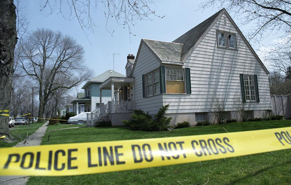 The St. Catharines house that Paul Barnardo and Karla Homolka lived in, April 30, 1993. The house is surrounded by police tape. (The Canadian Press Images/Jeff Chevrier)