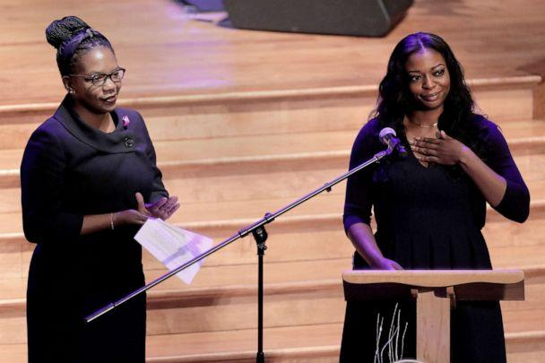 PHOTO: Adia Cummings, right, daughter of late Rep. Elijah Cummings, speaks next to her sister Jennifer Cummings, during their father's funeral services at the New Psalmist Baptist Church in Baltimore, Oct. 25, 2019. (Julio Cortez/Pool via Reuters)