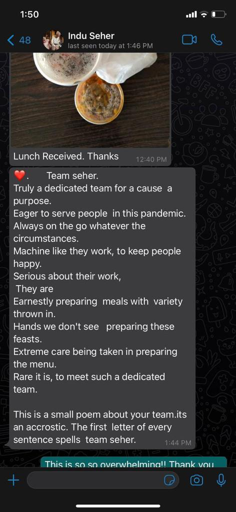 A poem sent by one of the family members Indu to Ankita thanking in return for the home-cooked meals