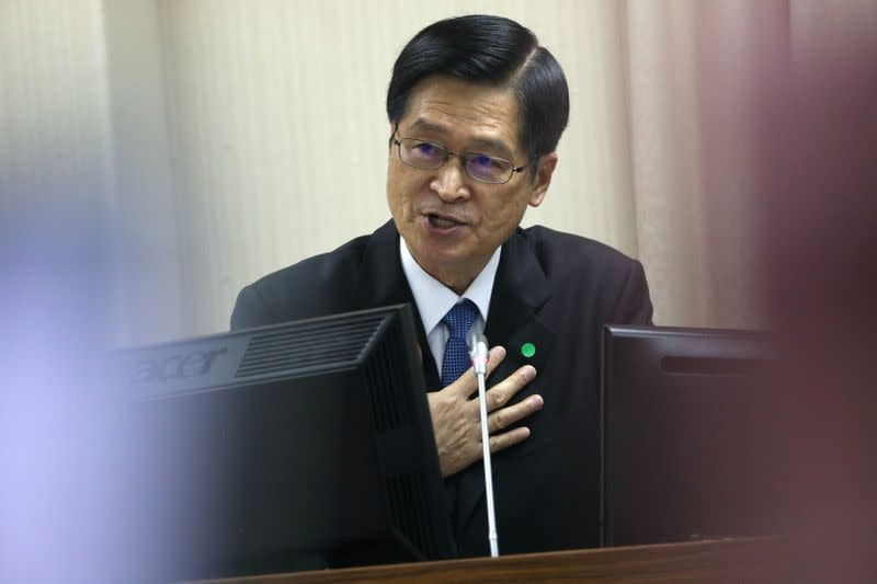 Taiwan's Defence Minister Yen De-fa answers questions asked by lawmakers in parliament in Taipei