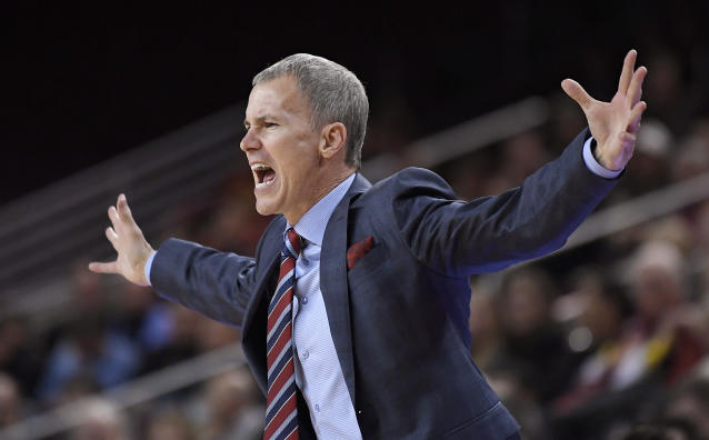 Southern California head coach Andy Enfield gestures to his team during the first half of an NCAA college basketball game against Colorado, Wednesday, Jan. 10, 2018, in Los Angeles. (AP Photo/Mark J. Terrill)