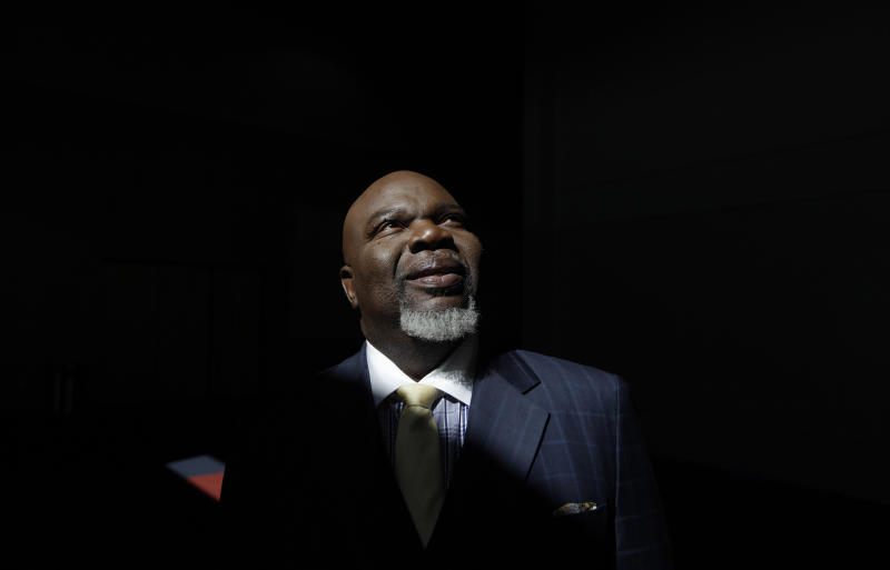 """This Aug. 13, 2012 photo shows Bishop T.D. Jakes posses for a photo at the Potters House in Dallas. Jakes' work as a film producer has motivated him to mentor more young people. As producer for the remake of """"Sparkle,"""" staring Whitney Houston, Jakes and others see Houston's spirit of mentoring and true-to-life role in the film, in which she plays a singer trying to raise her children in the church so they avoid some of the mistakes she made during her career. (AP Photo/LM Otero)"""