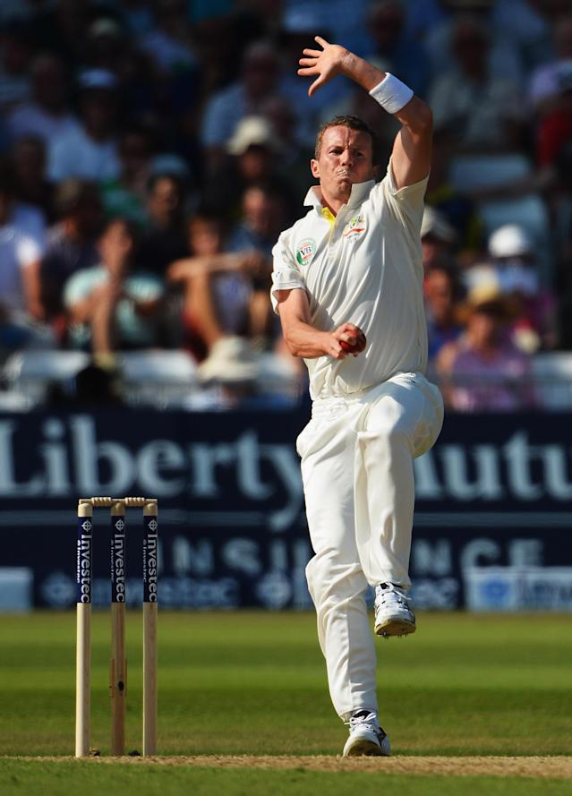 NOTTINGHAM, ENGLAND - JULY 11: Peter Siddle of Australia bowls during day two of the 1st Investec Ashes Test match between England and Australia at Trent Bridge Cricket Ground on July 11, 2013 in Nottingham, England. (Photo by Laurence Griffiths/Getty Images)