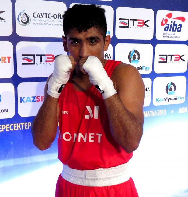 Vikash Malik (60kg) after winning his opening round bout at Almaty