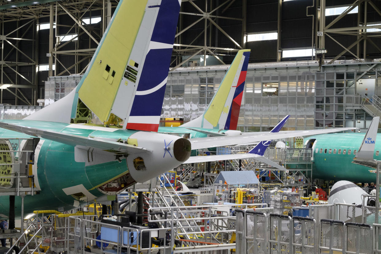 RENTON, WA - MARCH 27: Boeing 737 airplanes are pictured on the company's production line, on March 27, 2019 in Renton, Washington. In the wake of two 737 MAX 8 airliner crashes the company was holding meetings to update those in the aviation industry on software updates and additional pilot training. (Photo by Stephen Brashear/Getty Images)
