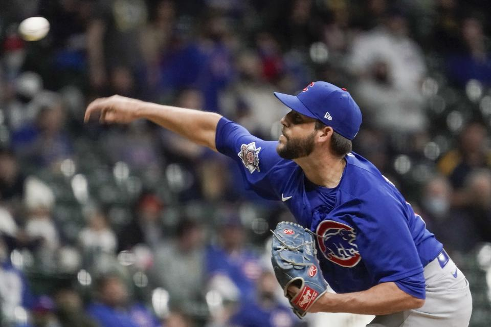 Chicago Cubs relief pitcher Ryan Tepera throws during the fifth inning of a baseball game against the Milwaukee Brewers Tuesday, April 13, 2021, in Milwaukee. (AP Photo/Morry Gash)