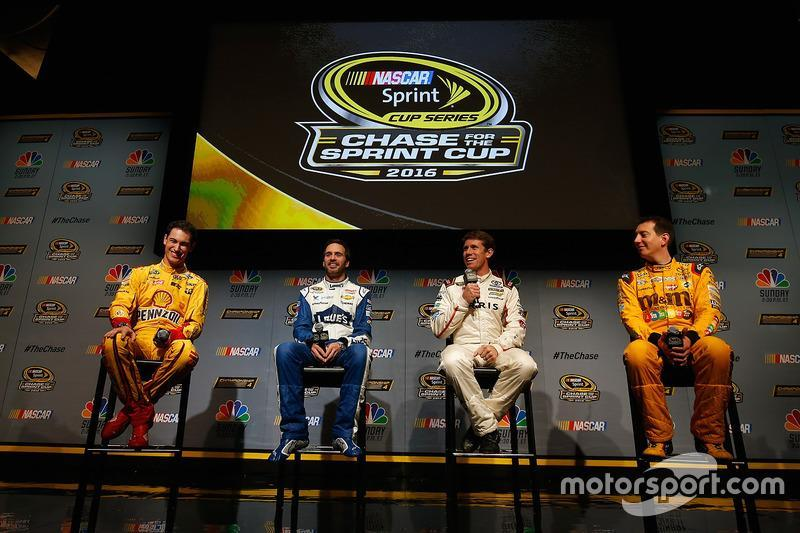 "2016: Joey Logano, Jimmie Johnson, Carl Edwards, Kyle Busch<span class=""copyright"">NASCAR Media</span>"