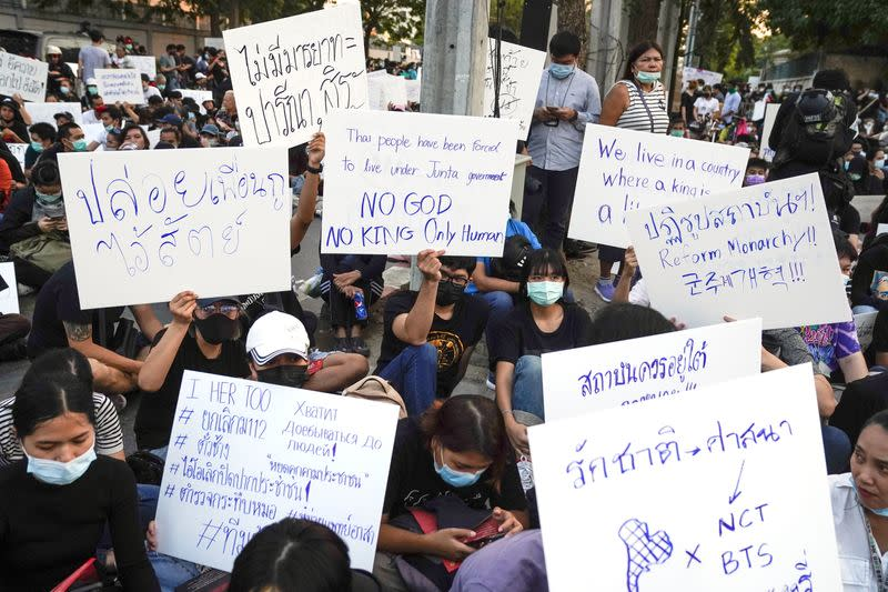 Pro-democracy protesters gather during a rally outside the Parliament in Bangkok