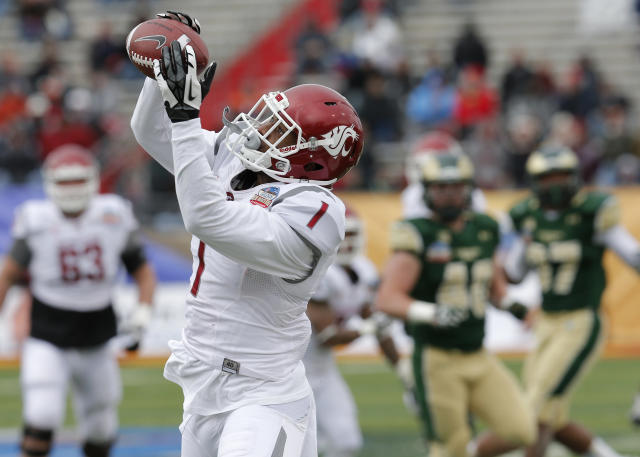 Washington State wide receiver Vince Mayle (1) pulls in a touchdown pass against Colorado State during the first half of the New Mexico Bowl NCAA college football game, Saturday, Dec. 21, 2013, in Albuquerque, N.M. (AP Photo/Matt York)