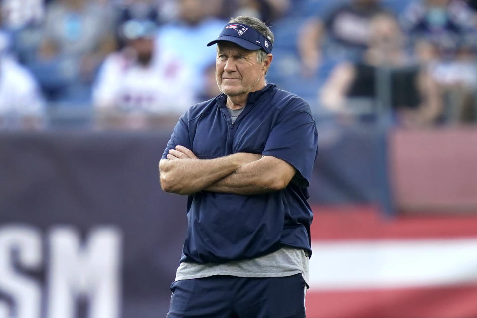New England Patriots coach Bill Belichick watches the NFL football team's practice Friday, Aug. 6, 2021, in Foxborough, Mass. (AP Photo/Elise Amendola)