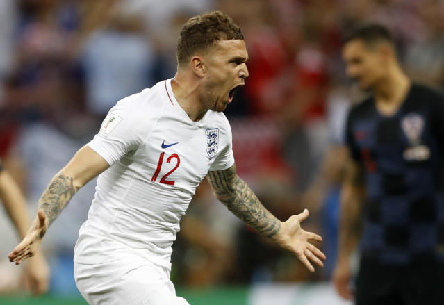 England's Kieran Trippier celebrates after scoring the opening goal during the semifinal match between Croatia and England at the 2018 soccer World Cup in the Luzhniki Stadium in Moscow, Russia, Wednesday, July 11, 2018. (AP Photo/Francisco Seco)