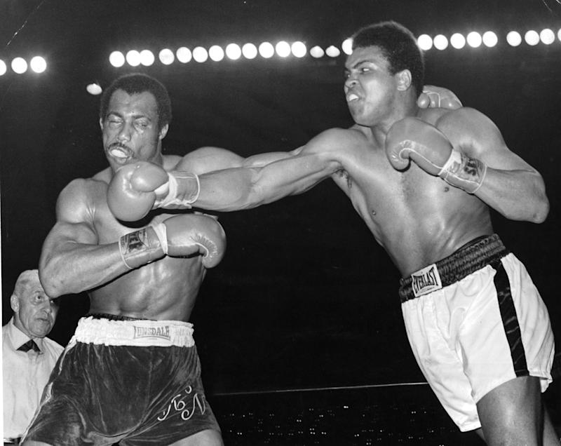 SAN DIEGO - MARCH 31,1973: Muhammad Ali (R) connects a right punch against Ken Norton during the fight at the Sports Arena on March 31,1973 in San Diego,California. Ken Norton won the NABF heavyweight title. (Photo by: The Ring Magazine via Getty Images)