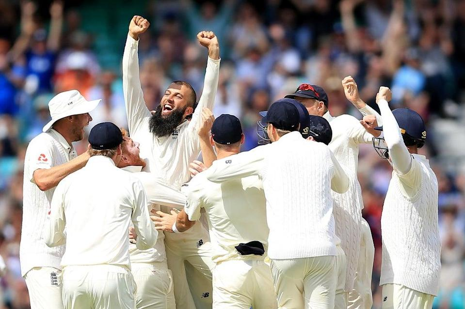 Mooen Ali celebrates his hat-trick against South Africa in 2017 (Nigel French/PA) (PA Archive)