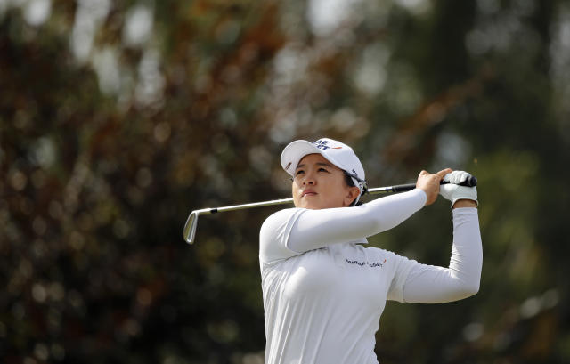 Sei Young Kim of Korea tees off to the 8th hole during the fourth round of the Evian Championship women's golf tournament in Evian, eastern France, Sunday, Sept. 16, 2018. (AP Photo/Francois Mori)