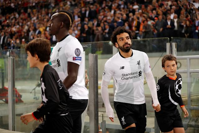 Soccer Football - Champions League Semi Final Second Leg - AS Roma v Liverpool - Stadio Olimpico, Rome, Italy - May 2, 2018 Liverpool's Mohamed Salah and Sadio Mane walk out before the match Action Images via Reuters/John Sibley