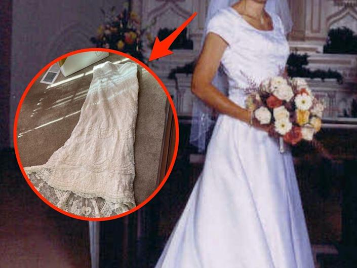 A photo of a bride in a wedding dress with a second dress inset.