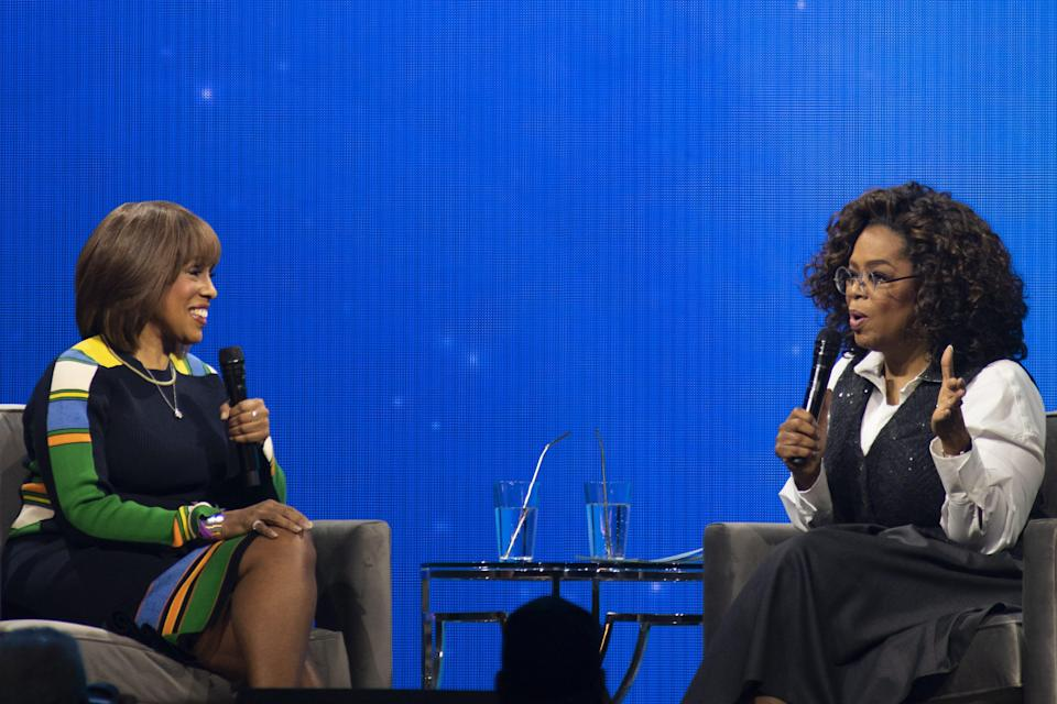 """Oprah Winfrey, right, seen with Gayle King in March 2020, discussed her blockbuster interview with Prince Harry and Meghan with King and her """"CBS This Morning"""" colleagues Monday."""