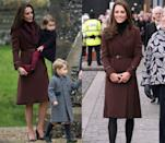 <p>The Duchess of Cambridge has worn the Hobbs London Celeste coat several times over the years. She's pictured here on Christmas Day 2016 and during a visit to Liverpool on Valentines Day in 2012.</p>