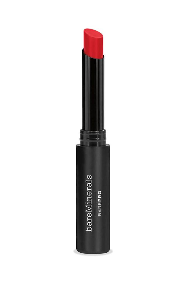 """<p>The thin bullet of bareMinerals' Bare Pro Longwear Lipstick not only makes perfect application easier, but the nourishing formula glides on and stays put without feathering or transferring. </p><p><em><a rel=""""nofollow"""" href=""""https://www.lookfantastic.com/bareminerals-barepro-longwear-lipstick-various-shades/11976685.html"""">bareMinerals Bare Pro Longwear Lipstick</a>, £20</em></p><p><em><a rel=""""nofollow"""" href=""""https://www.lookfantastic.com/bareminerals-barepro-longwear-lipstick-various-shades/11976685.html"""">SHOP NOW</a></em><em><br></em></p>"""
