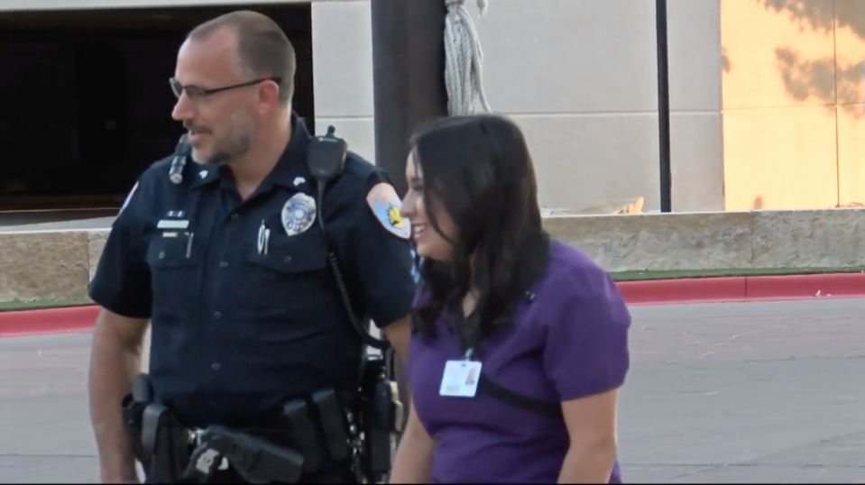 Bria Montes and Corporal Gary Potter met after she left a thank you note on an Odessa police squad car a day after the deadly mass shooting. (Photo: KOSA)