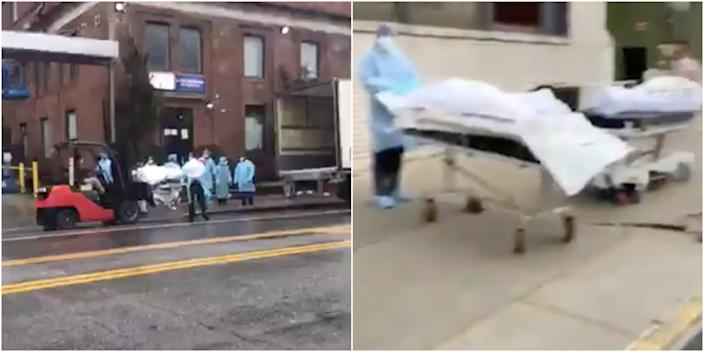 Left, a screenshot from a video taken on Sunday of a forklift transferring the bodies of coronavirus victims into the back of a refrigerated truck outside the Brooklyn Hospital Center. Right, a screenshot from another video, taken outside another Brooklyn hospital, showing bodies on gurneys to be put in a similar truck.