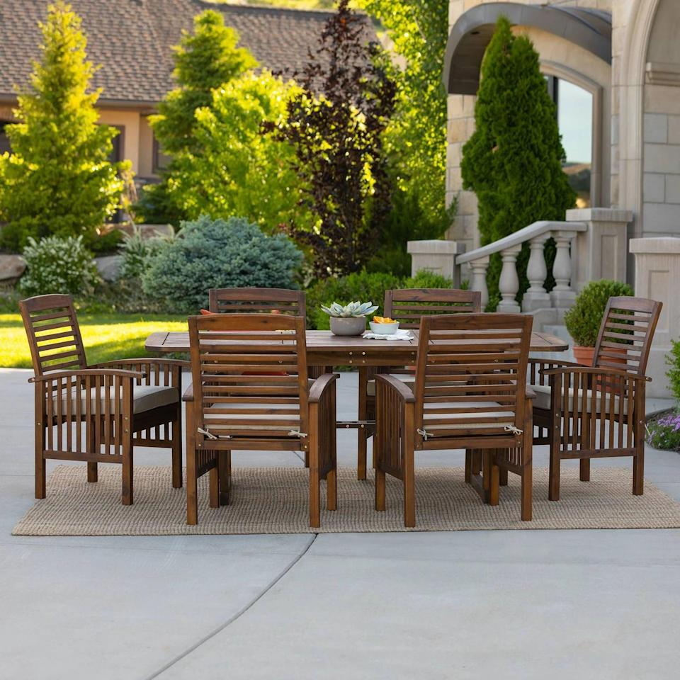 <p>You'll have the best summer with the <span>Acacia Wood Patio Dining Set With Cushions</span> ($1,200) in your backyard.</p>