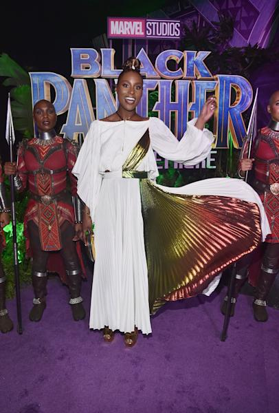"""<div class=""""caption""""> Who: Issa Rae <br> What: Rosie Assoulin<br> Where: At the <em>Black Panther</em> premiere, Los Angeles<br> When: January 29, 2018<br><br><br> </div> <cite class=""""credit"""">Photo: Getty Images</cite>"""