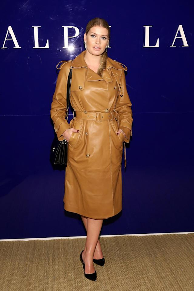 <p>Princess Diana's niece wore a tan Ralph Lauren coat to view the brand's Fall 2018 show in New York.(Photo: Getty Images) </p>