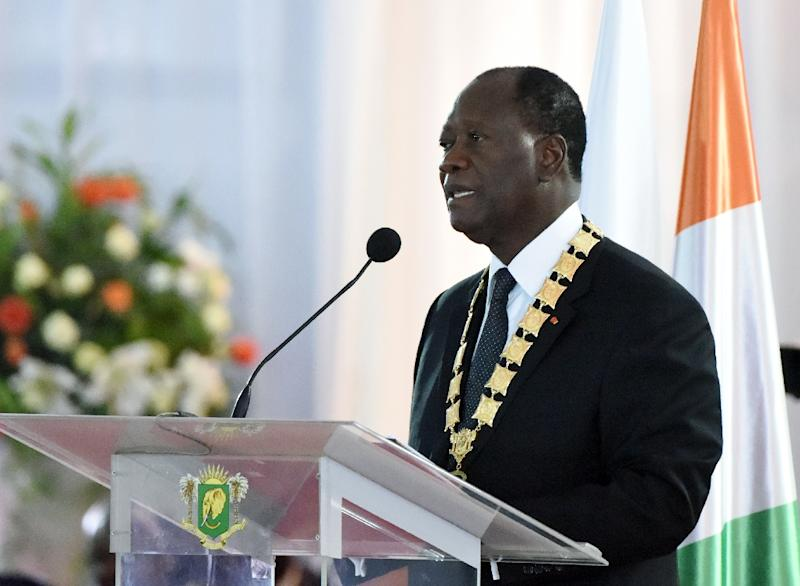 Ivory Coast's President Alassane Ouattara, pictured on November 3, 2015, used his right of clemency to grant full and partial sentence reductions