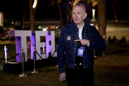 Fashion Designer Jean Paul Gaultier poses at the venue of the 2019 Eurovision song contest in Tel Aviv, Israel May 18, 2019. REUTERS/Amir Cohen