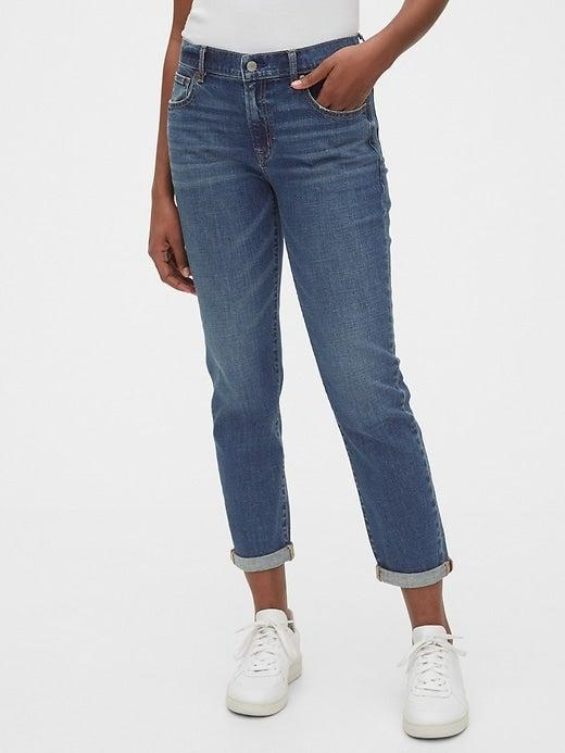 """<br><br><strong>Gap</strong> Mid Rise Girlfriend Jeans, $, available at <a href=""""https://go.skimresources.com/?id=30283X879131&url=https%3A%2F%2Fwww.gap.com%2Fbrowse%2Fproduct.do%3Fpid%3D546961002%26cid%3D1048557%26pcid%3D5664%26vid%3D1%26grid%3Dpds_13_21_1%23pdp-page-content"""" rel=""""nofollow noopener"""" target=""""_blank"""" data-ylk=""""slk:Gap"""" class=""""link rapid-noclick-resp"""">Gap</a>"""