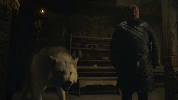 Quigley as Ghost and John Bradley as Samwell Tarly in HBO's Game of Thrones . (Credit: HBO)