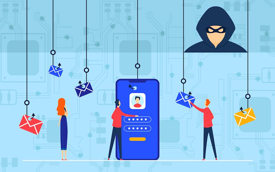 Phishing attack vector illustration. Cartoon flat hacker cyber criminal character using fishing hook, online attacked smartphone with personal files data information, cybercrime concept background