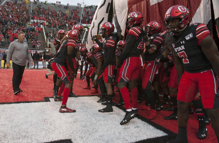 SALT LAKE CITY, UT - OCTOBER 19 : Kyle Whittingham head coach of the Utah Utes gets is team going before they ran onto the field before the start of their game against the Arizona State Sun Devils at Rice-Eccles Stadium on October 19, 2019 in Salt Lake City, Utah. (Photo by Chris Gardner/Getty Images)