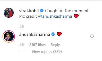 Anushkas comment on virats pic