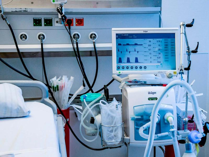 A ventilator is pictured during an instruction of doctors at the Universitaetsklinikum Eppendorf in Hamburg: AFP