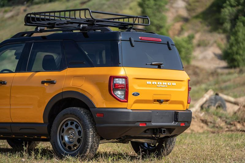 The rear of an all-new 4-door Ford Bronco Sport rugged small SUV is seen in Holly on July 10, 2020.