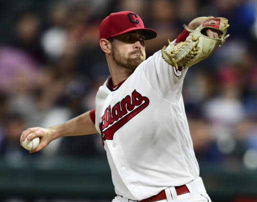 Cleveland Indians starting pitcher Shane Bieber delivers in the sixth inning of a baseball game against the Detroit Tigers, Friday, June 22, 2018, in Cleveland. (AP Photo/David Dermer)