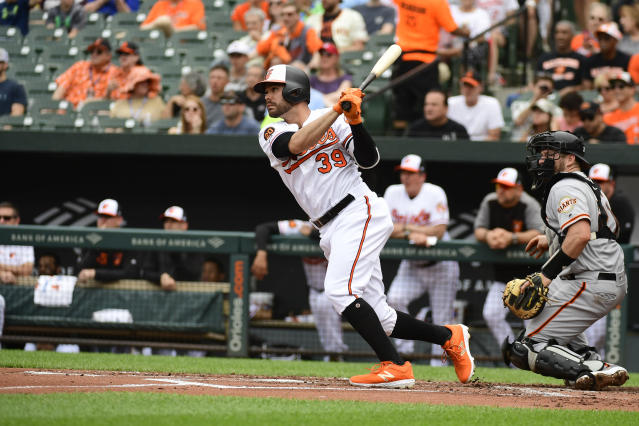 Baltimore Orioles' Renato Nunez (39) hits a double in the first inning of an interleague baseball game against the San Francisco Giants, Sunday, June 2, 2019, in Baltimore. (AP Photo/Tommy Gilligan)