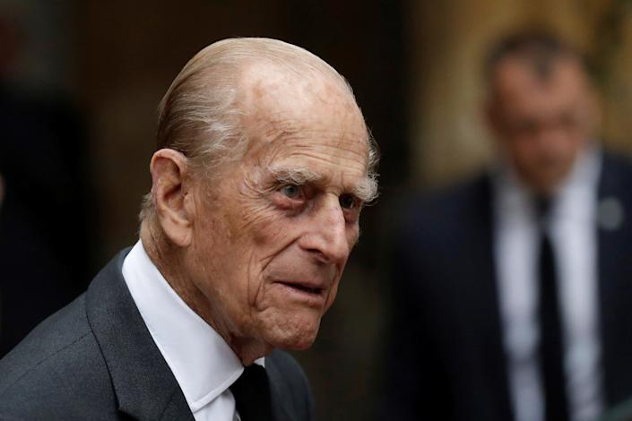 Britain's Prince Philip leaves after the funeral service of Patricia Knatchbull, the Countess Mountbatten of Burma at St Paul's Church in Knightsbridge, London, Britain June 27, 2017. REUTERS/Matt Dunham/Pool