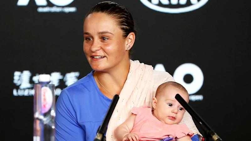 Ash Barty brought her baby niece to the post match press conference after losing her Australian Open semi-final. (Photo by Mike Owen/Getty Images)