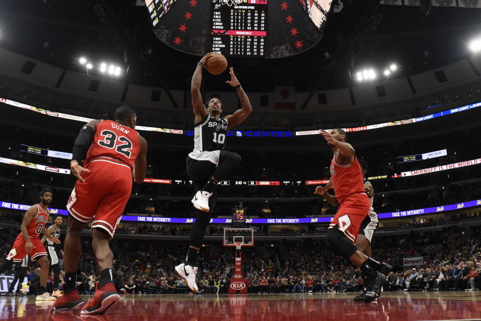 San Antonio Spurs forward DeMar DeRozan (10) goes to the basket against the Chicago Bulls during the second half of an NBA basketball game Monday, Jan. 27, 2020, in Chicago. (AP Photo/David Banks)