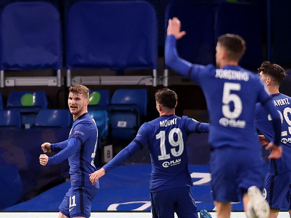 Timo Werner (left) nodded the ball into an open goal to put Chelsea ahead (Getty Images)