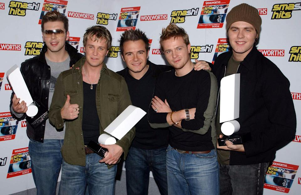 Mark Feehily, Kian Egan, Shane Filan, Nicky Byrne and Brian McFadden at the Smash Hits T4 Poll Winners Party. (Photo by Ian West - PA Images/PA Images via Getty Images)